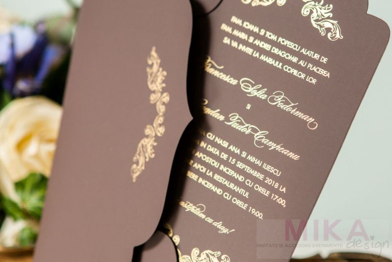 Invitatie nunta eleganta maro cu auriu - poza 4