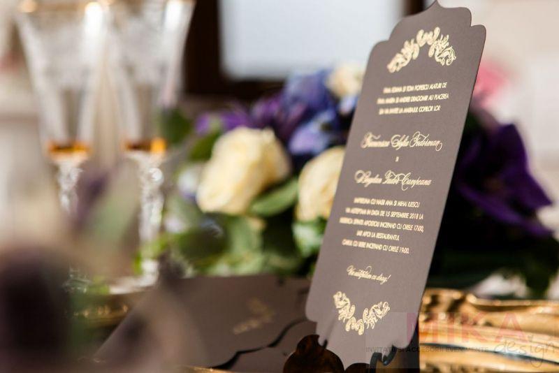 Invitatie nunta eleganta maro cu auriu - poza 5