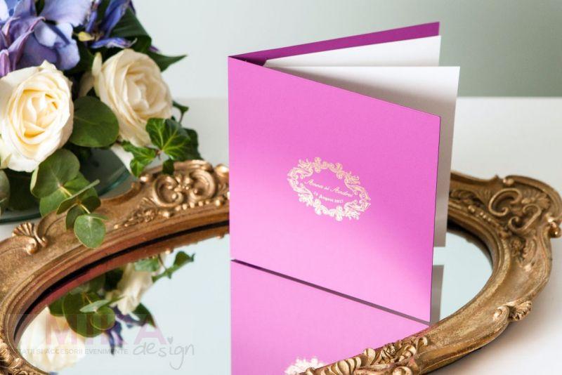Invitatie nunta eleganta mov cu auriu - poza 4