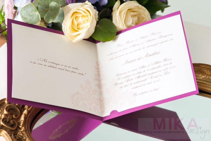 Invitatie nunta eleganta mov cu auriu - poza 5