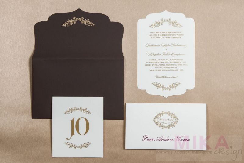 Invitatie nunta maro chocolat cu ivoire - poza 1