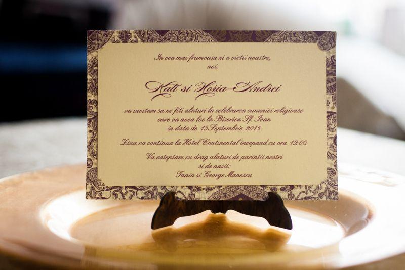 Invitatie nunta model carte postala mov - poza 1