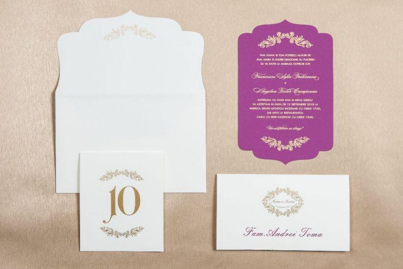 Invitatie nunta mov carton catifelat - poza 1