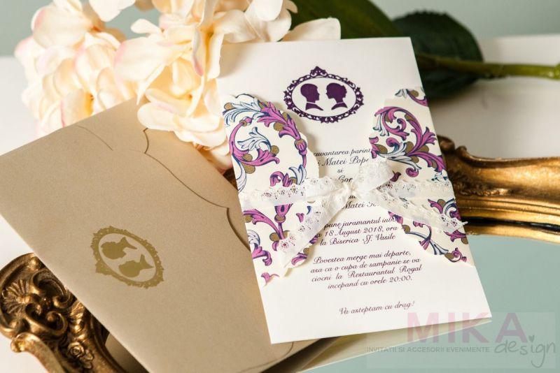 Invitatie nunta mov cu auriu, camee asortata - poza 2