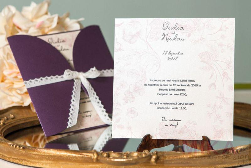 Invitatie nunta mov sidefat cu trandafiri vintage - poza 3