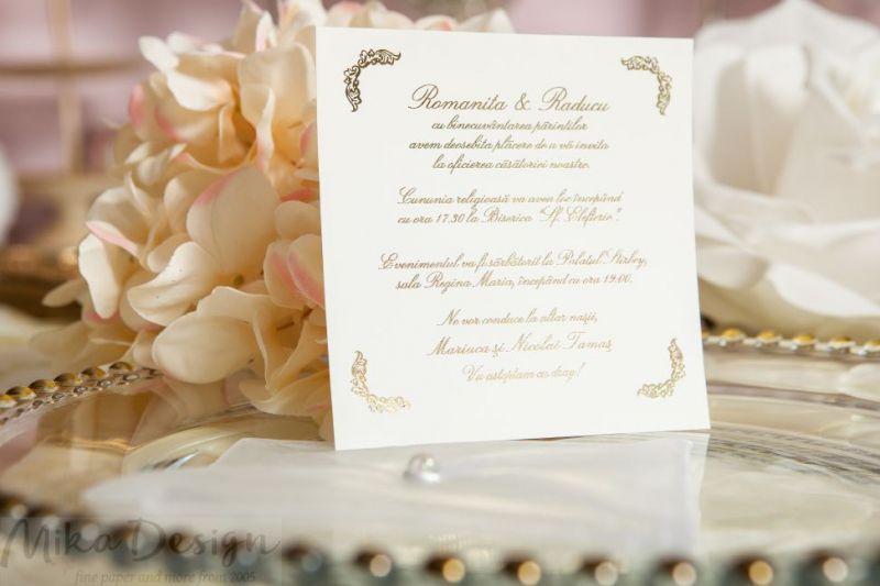 Invitatie nunta plic organza maro - poza 2