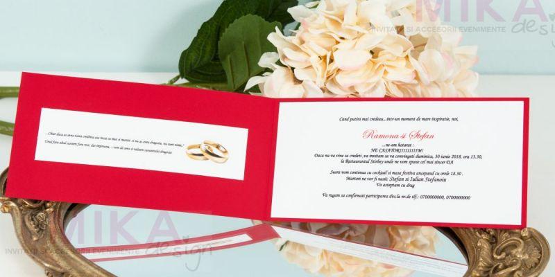 Invitatie nunta rosie cu verighete aurii - poza 4
