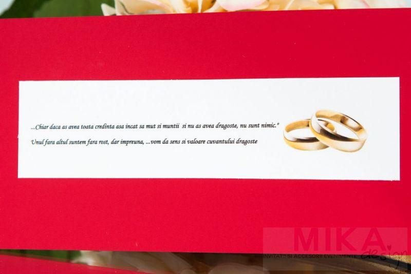Invitatie nunta rosie cu verighete aurii - poza 3