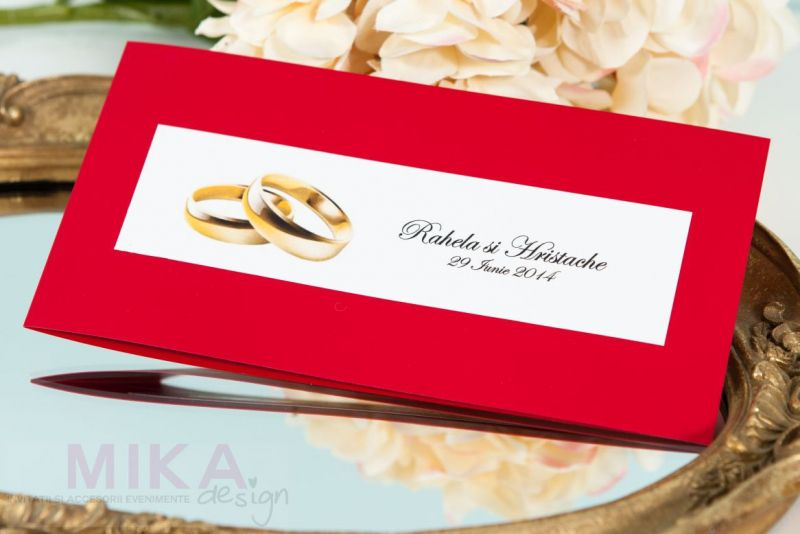 Invitatie nunta rosie cu verighete aurii - poza 1