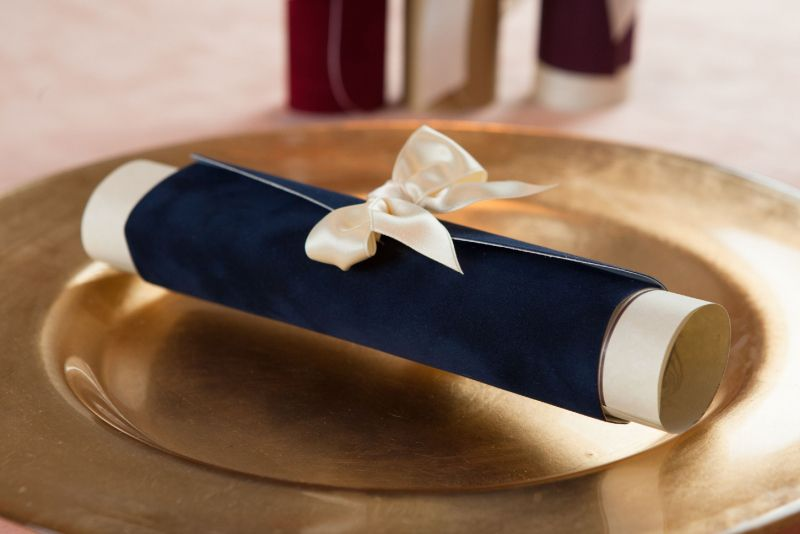 Invitatie nunta scroll albastru - poza 2