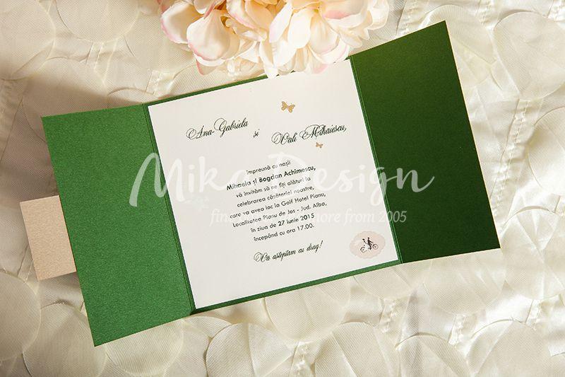 Invitatie nunta verde cu fluturi - poza 3