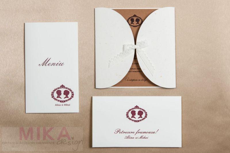 Invitatie nunta vintage cu danteluta ivoire - poza 1