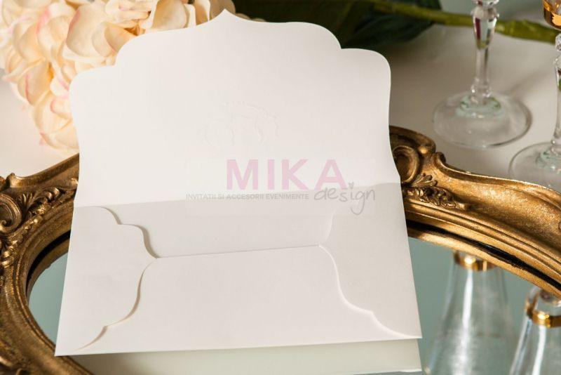 Invitatie nunta vintage cu plic camee auriu - poza 5