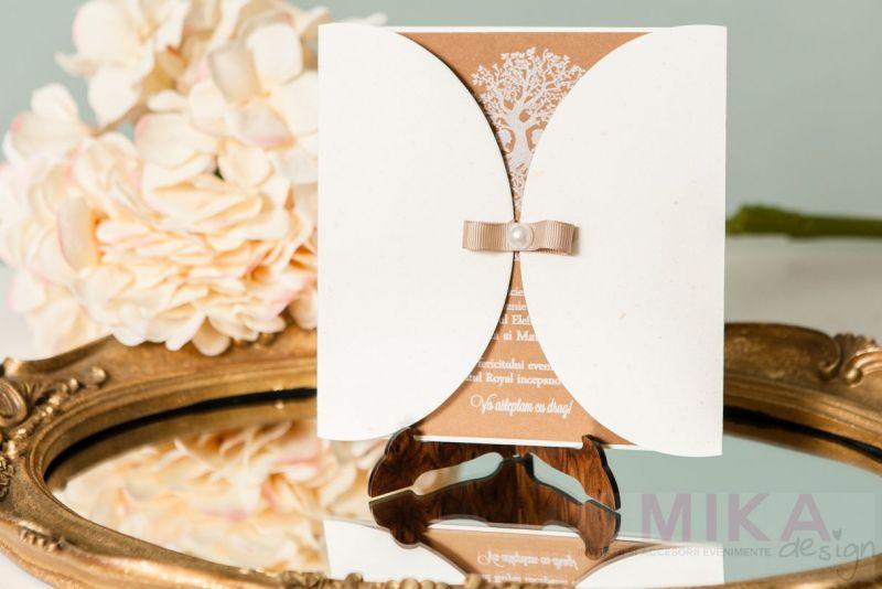 Invitatie nunta vintage cu pomisor alb - poza 1