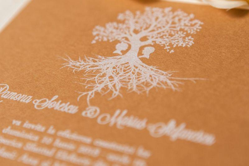 Invitatie nunta vintage cu pomisor alb - poza 3