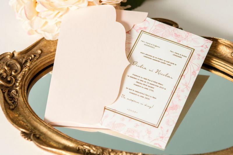 Invitatie nunta vintage cu trandafiri - poza 2