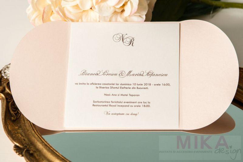 Invitatie nunta-roz crem cu brosa - poza 3