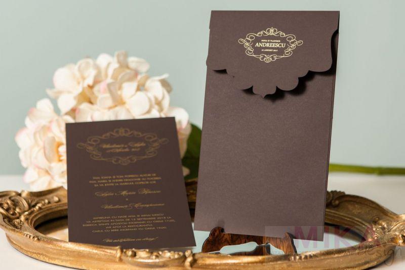 Invitatii nunt eleganta maro cu design auriu - poza 4