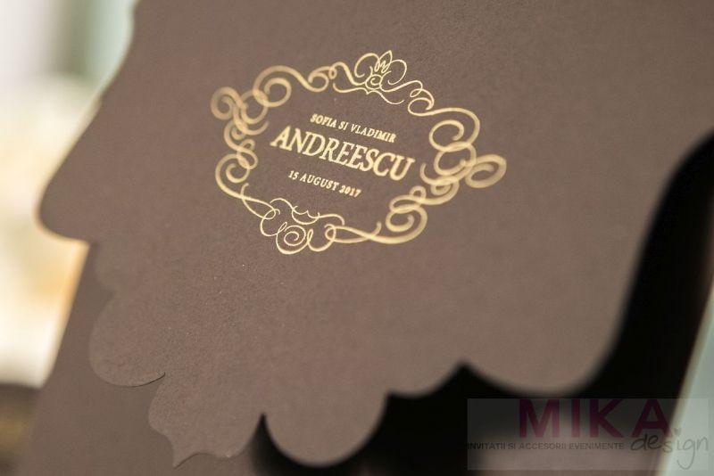 Invitatii nunt eleganta maro cu design auriu - poza 3