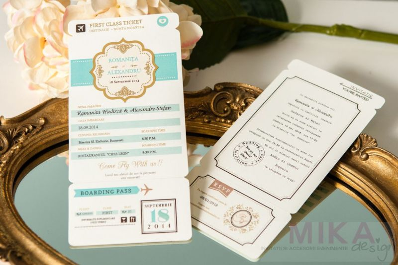 Invitatii nunta bilet de avion first class - poza 2