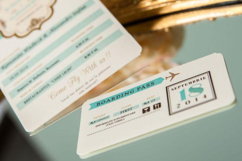 Invitatii nunta bilet de avion first class - poza 5