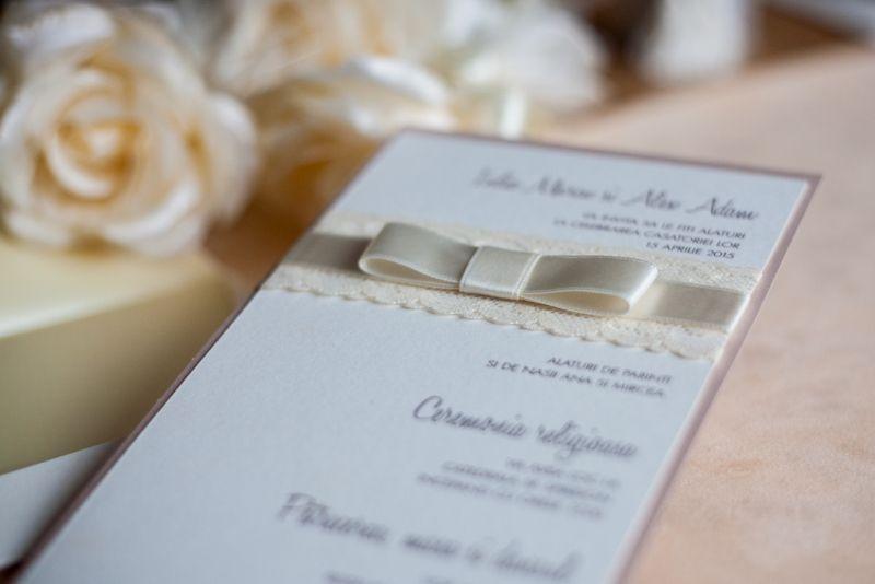 Invitatii nunta dantela ivoire - poza 1