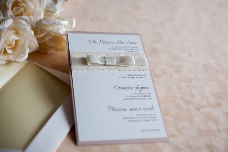 Invitatii nunta dantela ivoire - poza 2