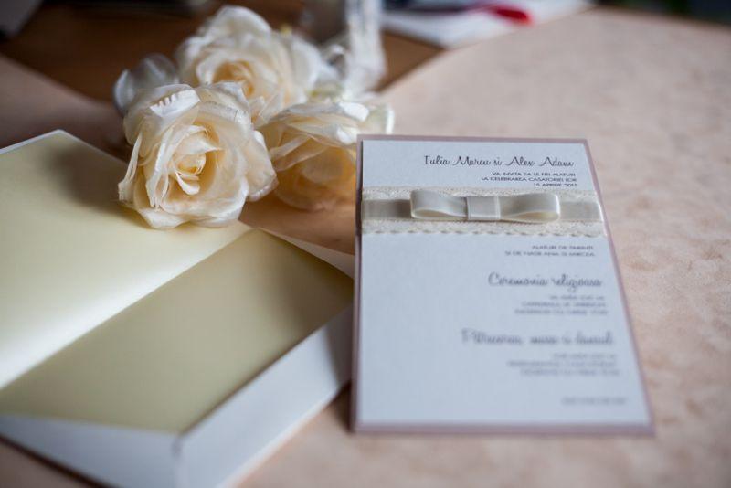 Invitatii nunta dantela ivoire - poza 4