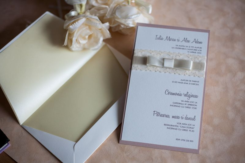 Invitatii nunta dantela ivoire - poza 5