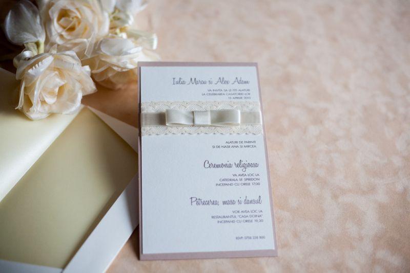 Invitatii nunta dantela ivoire - poza 3