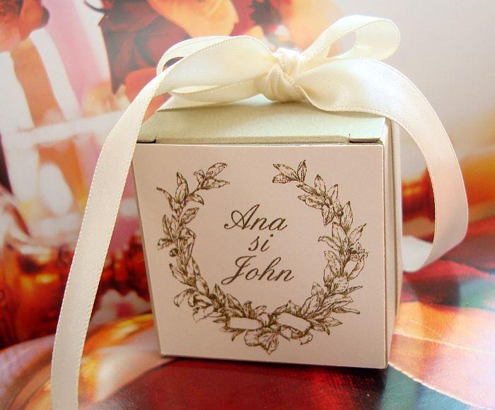 Marturii nunta cutiuta aurie eleganta - poza 2