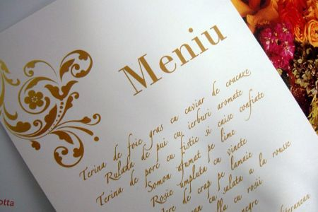 Meniu nunta  cu design baroc auriu - poza 1