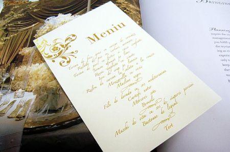 Meniu nunta  cu design baroc auriu - poza 2