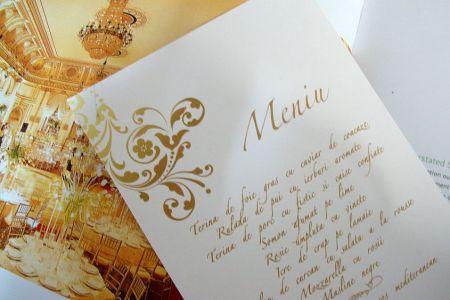Meniu nunta  cu design baroc auriu - poza 3