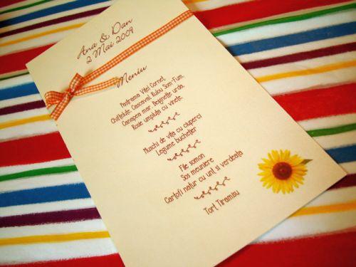 Meniu nunta cu floarea soarelui - poza 1
