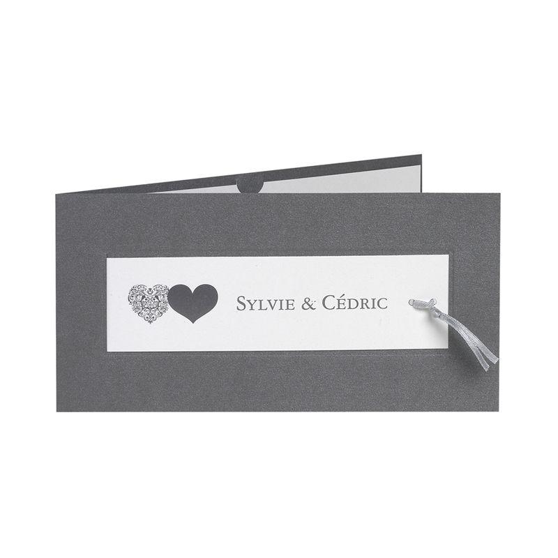 Invitatii de nunta cu inimi argintii, carton de calitate - poza 1