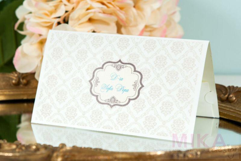 Plic bani nunta cu design damask crem - poza 1