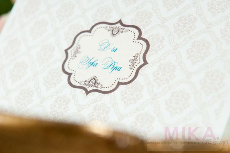 Plic bani nunta cu design damask crem - poza 2