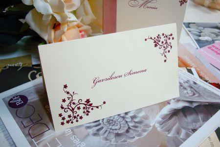 Plic de multumire nunta design cu flori grena - poza 1