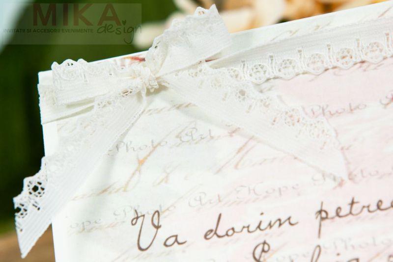 Plic bani nunta vintage cu dantela - poza 2