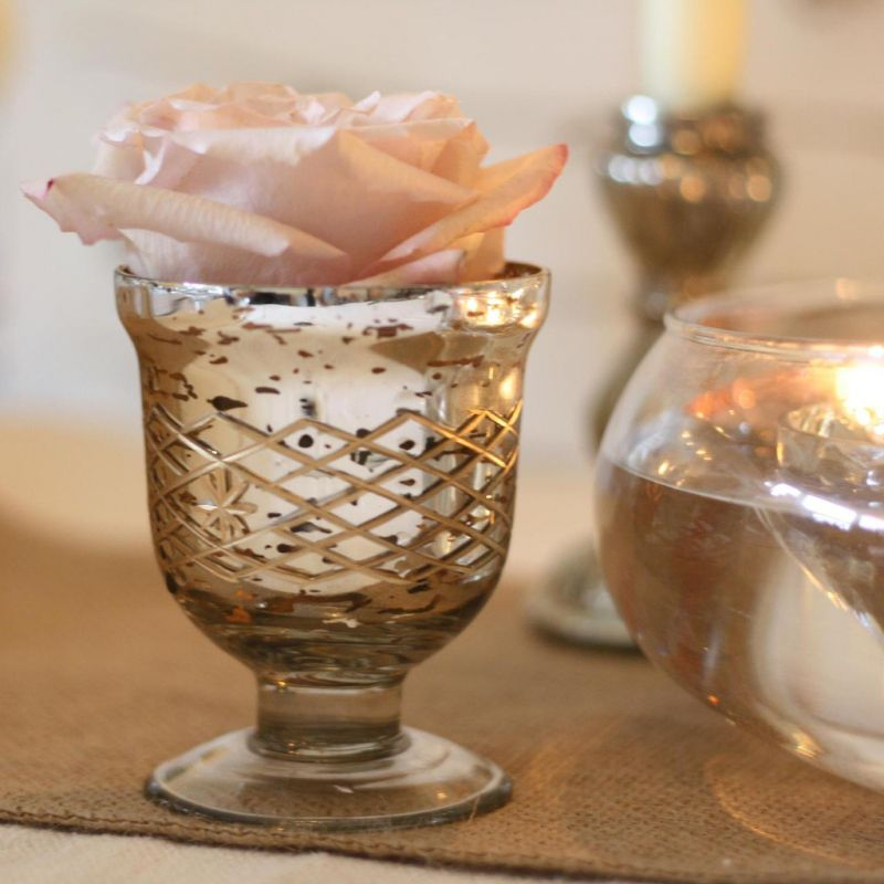 Suport flori sau lumanari auriu cu argintiu - poza 4
