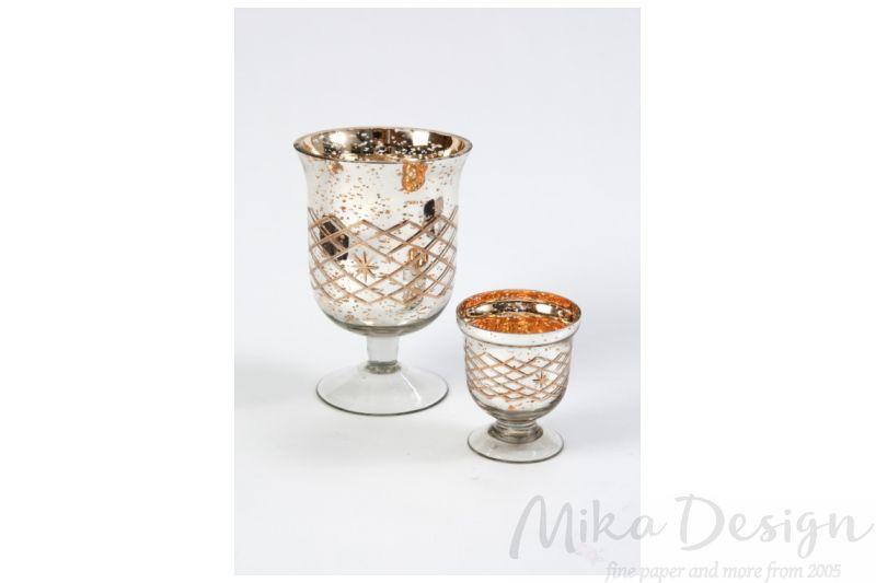 Suport flori sau lumanari auriu cu argintiu - poza 2
