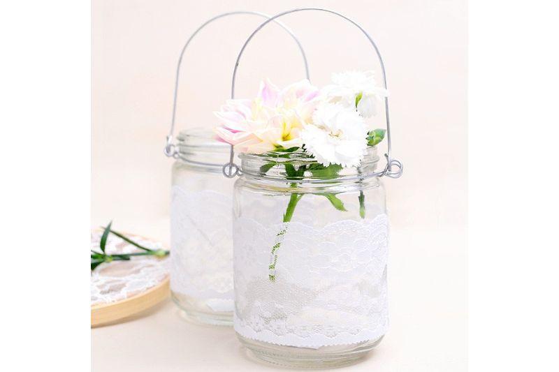 Suport lumanare sau flori cu dantela - poza 2