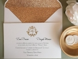 Invitatie nunta cu plic  glitter copper