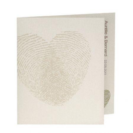 Invitatie de nunta alba cu amprenta inimii - poza 1