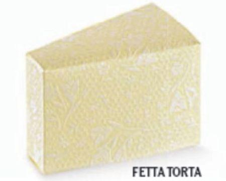 Cutie tip felie tort ivoire cu design elegant embosat