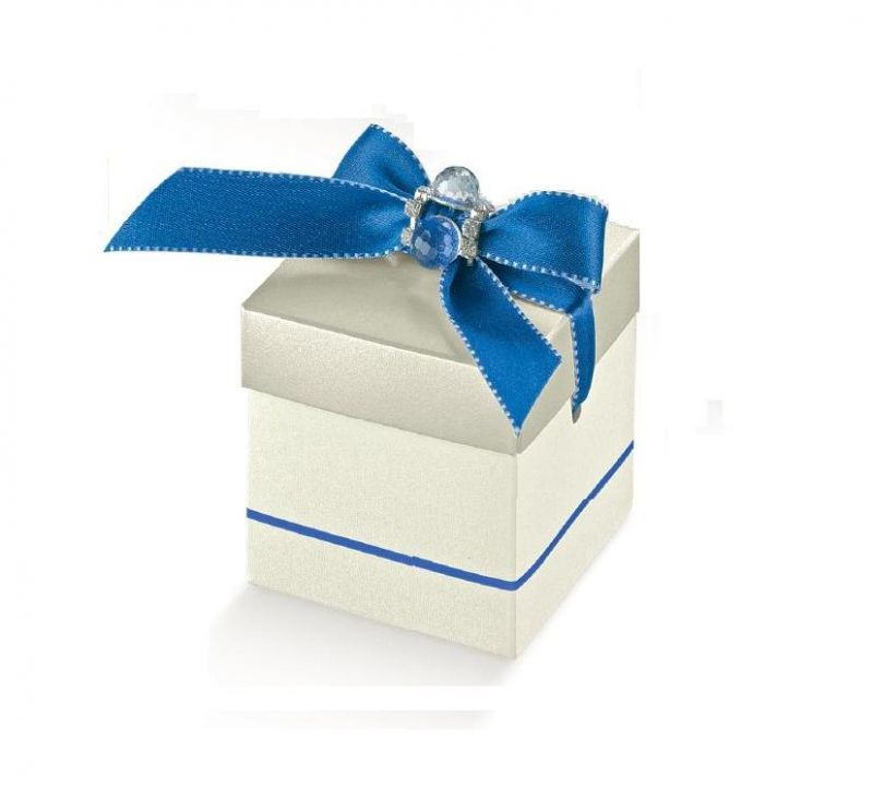 Cutie cu capac argintie cu dunga albastra - poza 1