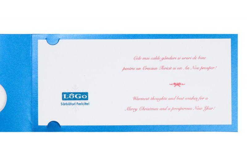Felicitare Craciun albastra cu logo - poza 3