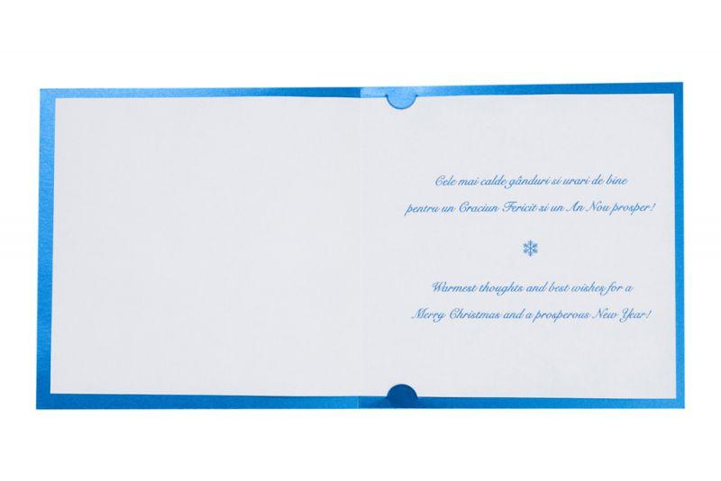 Felicitare Craciun albastra cu bradut argintiu - poza 3