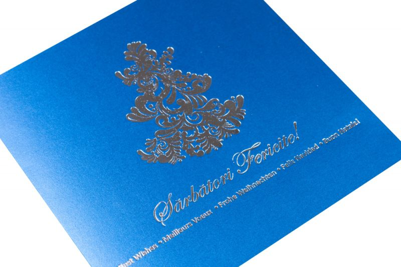 Felicitare Craciun albastra cu bradut argintiu - poza 2